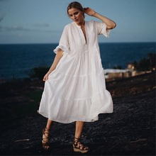 Cotton Beach Cover up Kaftan Pareos de Playa Mujer Bikini Swimsuit cover