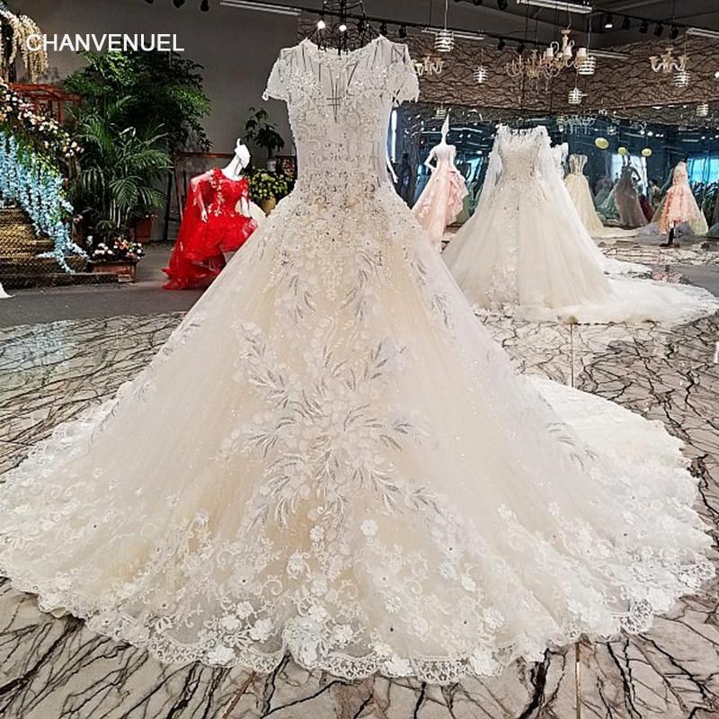 LS00249 vestido de noiva casamento zipper short sleeve lace long gown light champagne wedding dresses real photo abiti da sposa