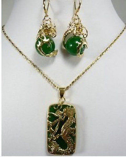 FREE SHIPPING>>@> Jewelry Fashion New Green stone Dragon Pendant necklace earring set For Women Natural jewelry