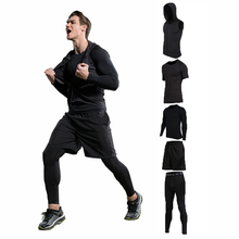 2017 Fitness Tight Sporting Suit Men Hoodies Shirt +Pant Men's Workout Set Compression Clothing Quick Dry Men's Sportswear