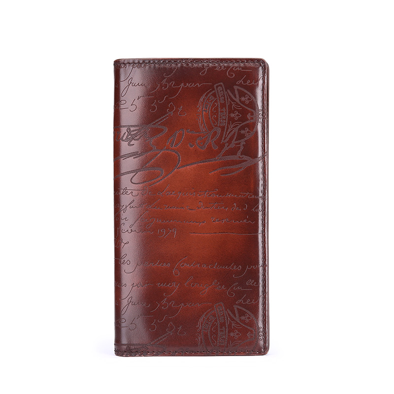 TERSE_Luxury Lettering Wallet Genuine Leather Men Purse Handmade Good Quality Wallet Men Bag Factory to Customer 4 Colors