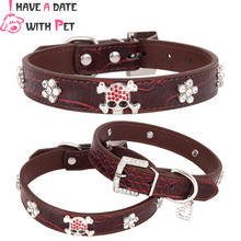 Personalized Red Rhinestone Skull Pet Dog Cat Collar Pu Leather Puppy Studded Collars For Small Medium Neck Strap XS/S/M/L