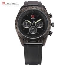 Shark Sport Watch Mens Stainless Steel Relogio Masculino Black 3ATM WaterProof Chronograph Quartz Rubber Luminous Watches /SH274
