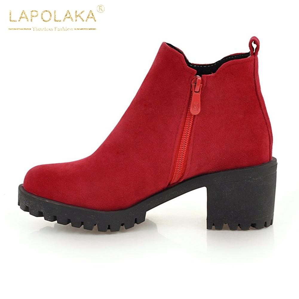 Up Ajouter black Fur 2018 Plus With D'hiver Zip Chunky Noir Chaussures Femmes 44 Lapolaka Rouge Talons Chaud brown red Fourrure black red Femme Bottes Fur Taille Brown 34 Cheville Fur ZfnXwq