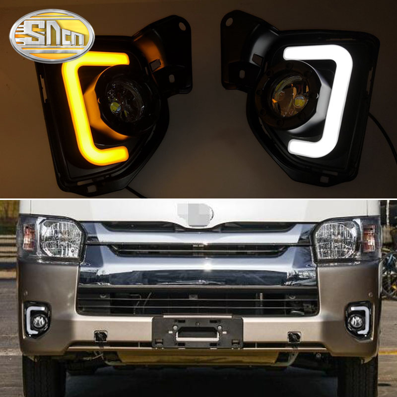 SNCN 2PCS LED Daytime Running Light For Toyota Hiace 2014 2018 Car Accessories Waterproof ABS 12V DRL LED Fog Lamp Decoration