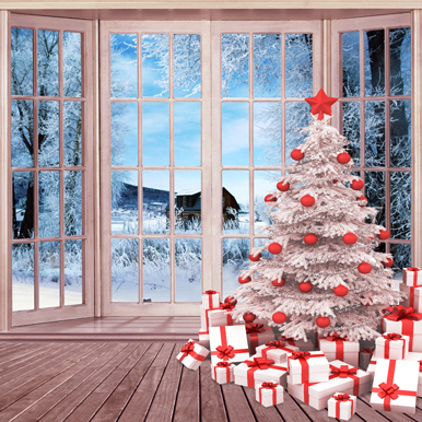 10x10ft Lattice Window Snow Field Cottage Gifts Christmas