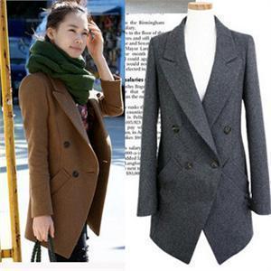 Free shipping 2014 new women's autumn winter elegant medium-long double breasted wool jacket fashion wool coat outerwear  T147