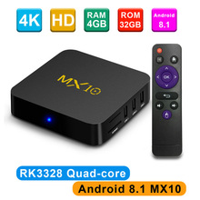 MX10 Smart Android 8.1 TV Box RK3328 4K VP9 H.265 HDR10 4GB/32GB Miracast WIFI USB 3.0 Set Top PK H96 Pro