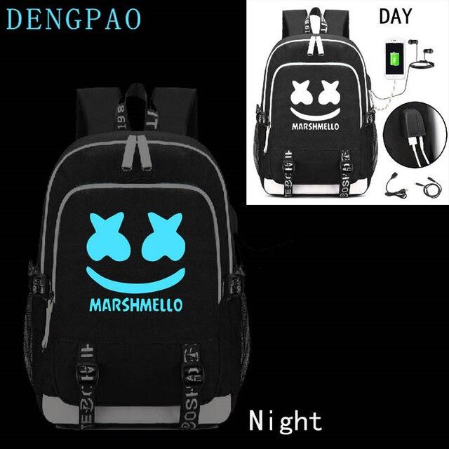 1f2db5d9feb9 DENGPAO Marshmello Luminous School Bag 2019 American Mystery DJ Usb Laptop  Backpack For Girls Boys Teenagers