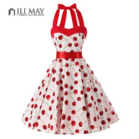 JLI MAY Women Red Cherry Party Dress Vintage Elegant Summer 50s Rockabilly Hepburn Dresses Pinup Strapless