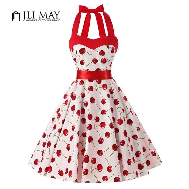 dae9de6f866ec JLI PUÒ donne Rosso ciliegia Vestito Da Partito Vintage elegante estate 50  s Rockabilly Hepburn abiti