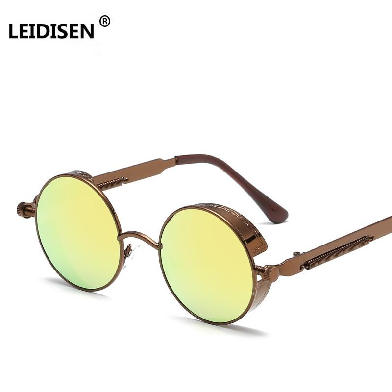ee79079f0e LEIDISEN Gold Metal Polarized Sunglasses Gothic Steampunk Sunglasses Mens  Womens Fashion Retro Vintage Shield Eyewear Shades -in Sunglasses from  Apparel ...