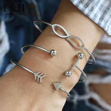 L&H 3 PCS/SET Vintage Cuff Bracelet Bangles for Women Brief Sliver Color Open Arrow Charms Bracelet Jewelry valentines Gift trendy rhinestone arrow shape cuff bracelet for women