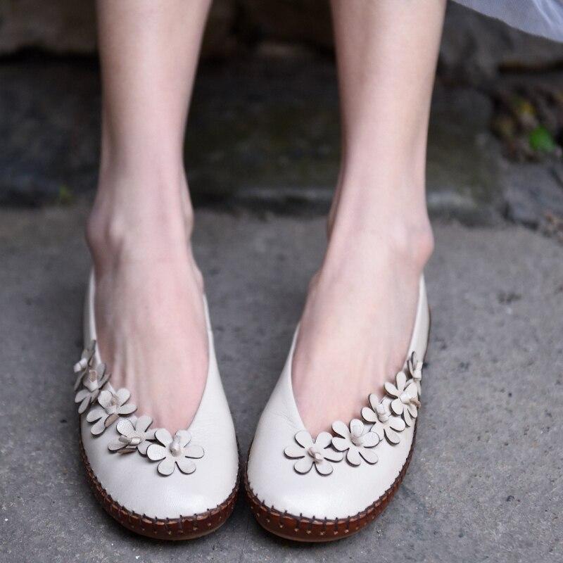 Artmu oryginalny 2019 wiosna nowe słodkie kwiaty damskie buty płytkie z owczej skóry płaskie ręcznie płaskie buty ze skóry naturalnej 190 73 w Damskie buty typu flats od Buty na  Grupa 3