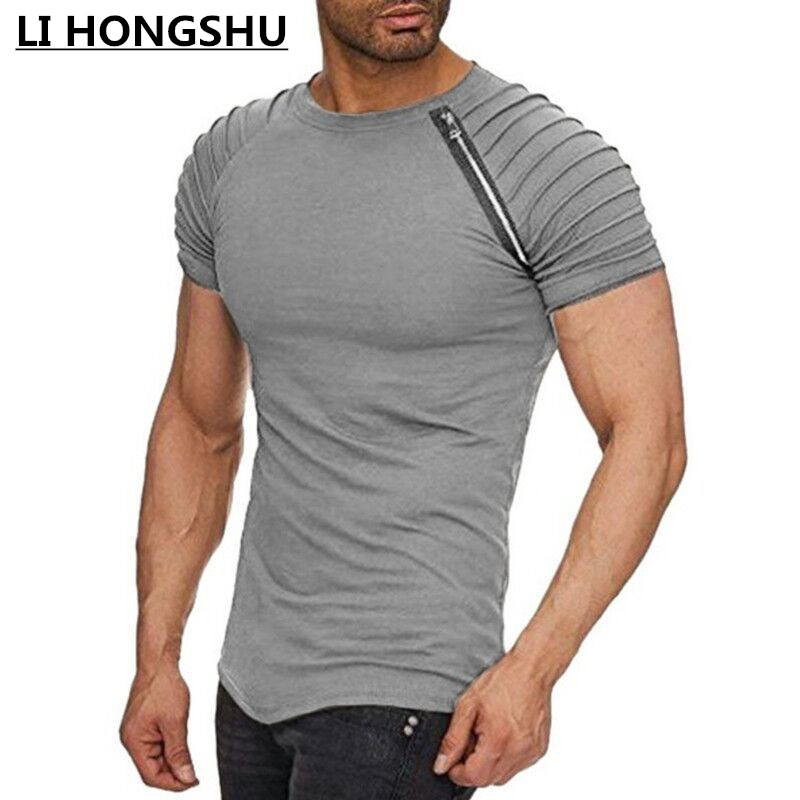 2018 fashion Zipper pleated sleeve men   t  -  shirt   Striped shoulder funny   t     shirts   Hip hop tops   t     shirt   slim fit summer   t     shirt