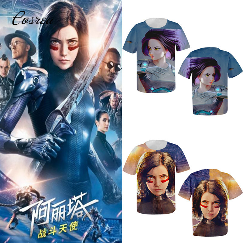 Movie Alita : Battle Angel 3d T Shirt Top Women Pullovers Cosplay Running T-shirt Alita Costumes for Women Girls Supreme T Shirt