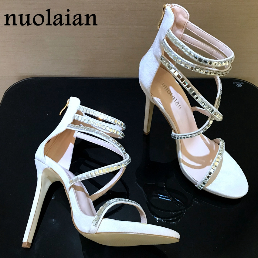 323f3873fb US $28.8 82% OFF|Brand Sexy Crystal Platform Shoes Woman Sandals Womens  Pumps High Heels Women Wedding Ladies Thin High Heel Shoes Open Toe 12cm-in  ...