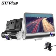 OTFPLUS Car DVR 4.0 inch IPS screen 3 Lens G sensor with Rear view dash cam free shipping