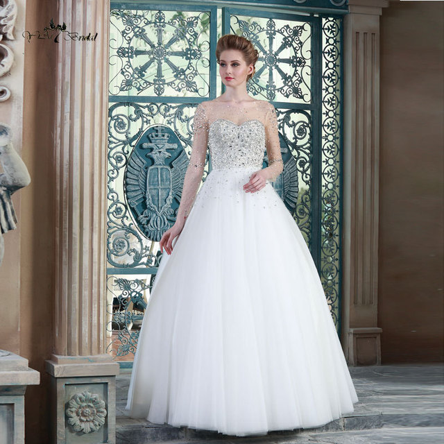 HSW2 Crystal Wedding Dresses Long Sleeve 2015 Ball Gown