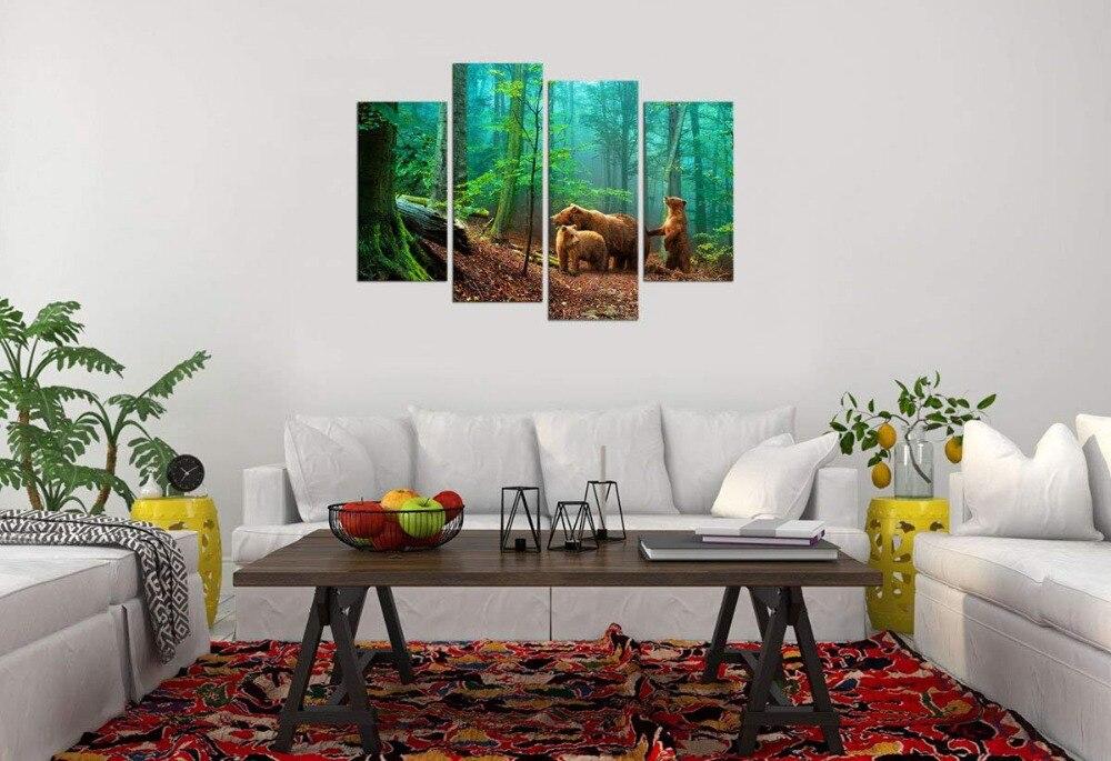 Холст стены Искусство форес зеленое дерево природа Картина Декор стены коричневые медведи семья в лесу готовы повесить картину Прямая поставка - 3