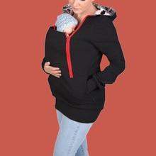Baby Carrier Hoodie Poleron 2019 Diagonal Zipper Hoodie Mother Kangaroo Baby Clothes Pocket Hoodie Pregnant Winter Clothes Women