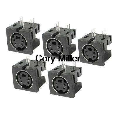 5pcs PCB Mount <font><b>4</b></font> <font><b>Pin</b></font> Female S Jack DVD <font><b>Mini</b></font> <font><b>Din</b></font> Sockets Connectors MDC-<font><b>4</b></font>-01 image