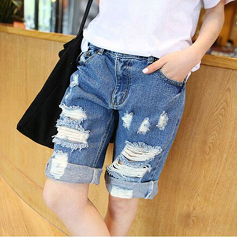 Cool Shorts Casual Women Jeans Hole Denim Pants Wide Leg Loose Pockets Fashion Female Plus Size trousers Spring Summer 2017 flower embroidery jeans female blue casual pants capris 2017 spring summer pockets straight jeans women bottom a46