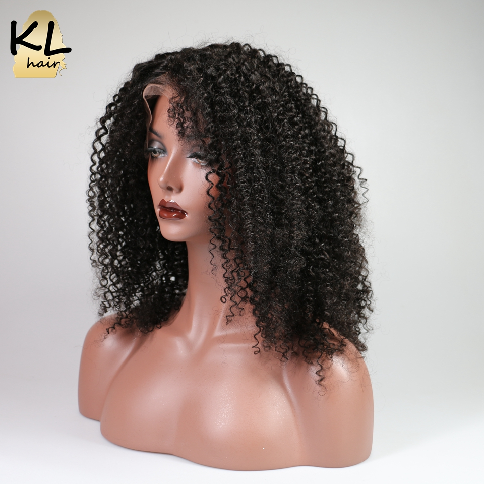 KL Lace Front Human Hair Wigs For Black Women Brazilian Remy Hair Pre Plucked Kinky Curly