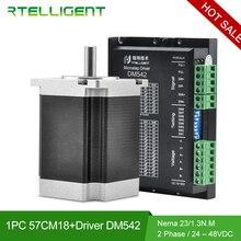 Rtelligent DM542 Nema 23 Stepper Motor Driver 24 48V with Nema 23 Stepper Motor 1.3N.M 76cm shaft 6.35mm 57CM18 for CNC Machine