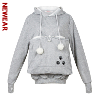 NEWEAR Cute Cat Claw Emboridery Hoodie Sweatshirt Casual Kangaroo Pocket Pet Hoodies Novelty Oversized Loose Cotton