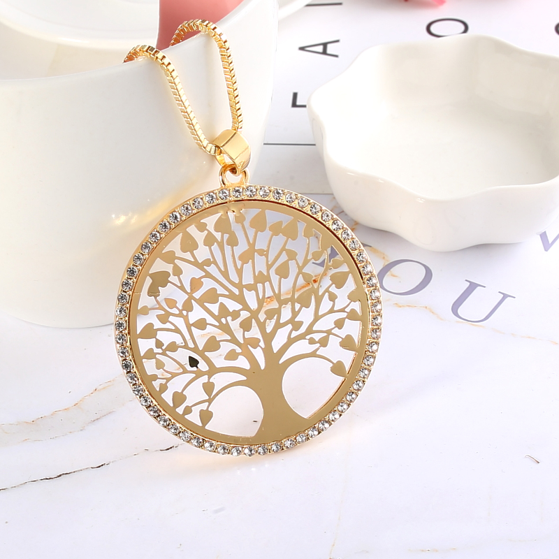 High Grade Copper Casting Round Tree Of Life Crystal Pendant Necklace Woman Girls Long Sweather Chain Jewelry Gift