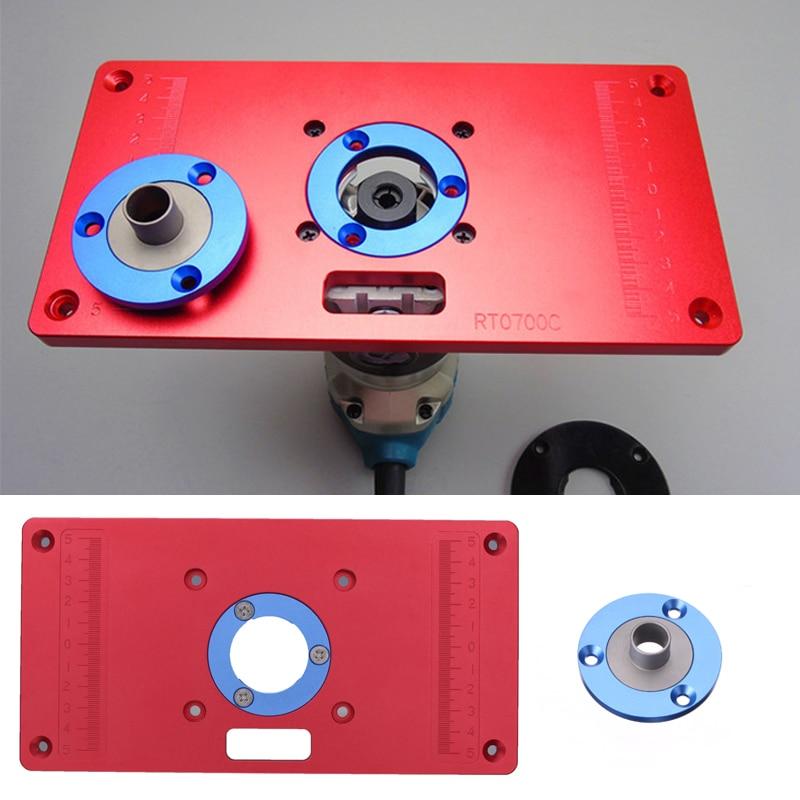 Plaque d'insertion de Table de routeur en aluminium avec 2 anneaux d'insertion de routeur pour les bancs de travail du bois routeur RT0700C rouge