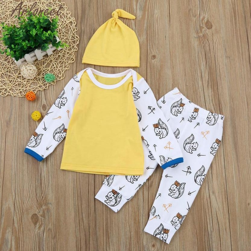 New Year Fashion Baby Boy Girl Clothes Newborn Kids Baby Girls Boys Outfits Clothes Cartoon T-shirt Tops+Pants+Hat Set #