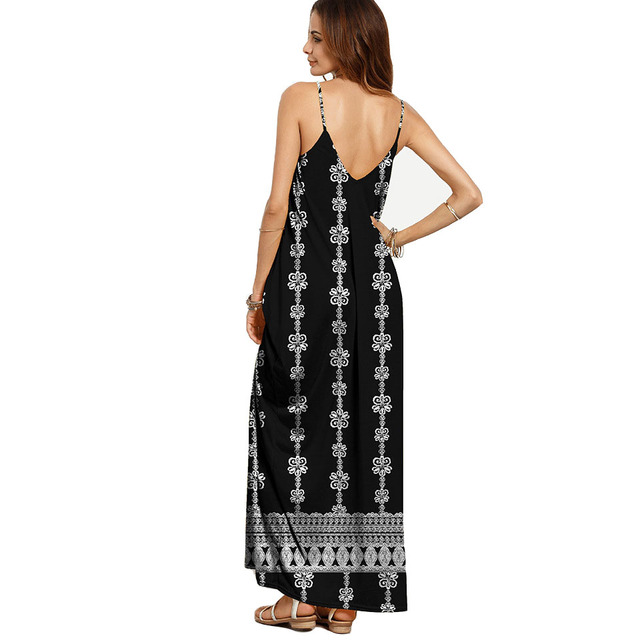 ba942f2e91 ... NORA TWIPS 2018 Women Loose Casual Summer Dress Soft Polyester Sexy V-Neck  Ankle- ...