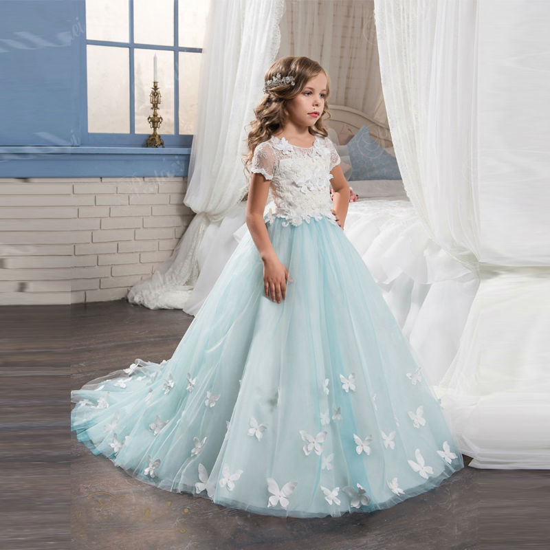 ФОТО Light Blue Flower Girl Dresses With Butterfly Short Sleeves Ball Gown O-Neck First Girls Communion Gown Girls Pageant Dress New