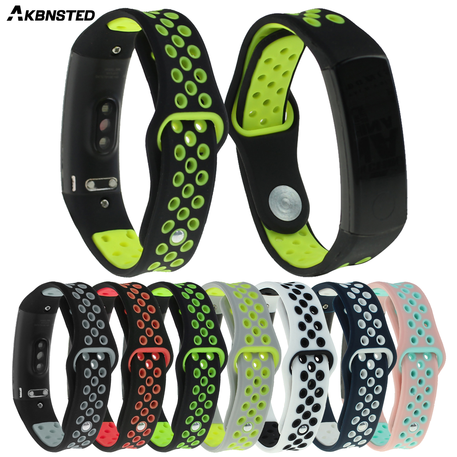 AKBNSTED Soft Silicone Strap For Huawei Honor Band 3 Replacement Wrist Band For Honor 3 Band Stainless Steel Buckle Watchband