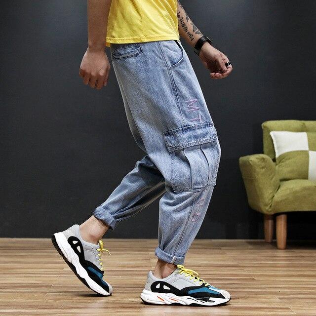 Japanese Style Fashion Men Jeans Blue Loose Fit Big Pocket Denim Cargo Pants Hombre Harem Trousers Streetwear Hip Hop Jeans Men