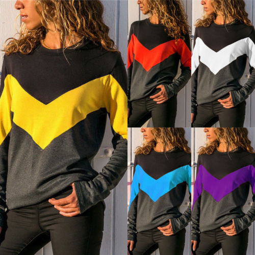 Women Patchwork Long Sleeve  Pullover Harajuku Loose Female Tracksuits Casual Round Neck Sweatshirt 2XL