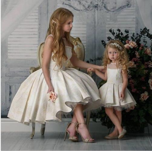 Sleeveless Short Flower Girl Dress Party Formal Mother and Daughter 2Pcs Gowns long criss cross open back formal party dress