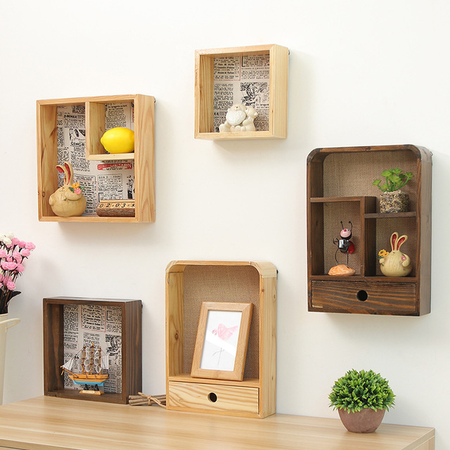 Home Organizador Vintage Wooden Box Storage Sundries Holder Box Hanger Wall  Mounted Rack Holder Wall Shelves