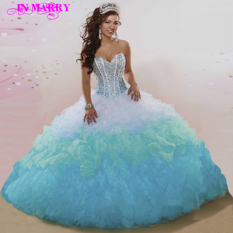 Popular Quinceanera Dresses Blue and White-Buy Cheap Quinceanera ...