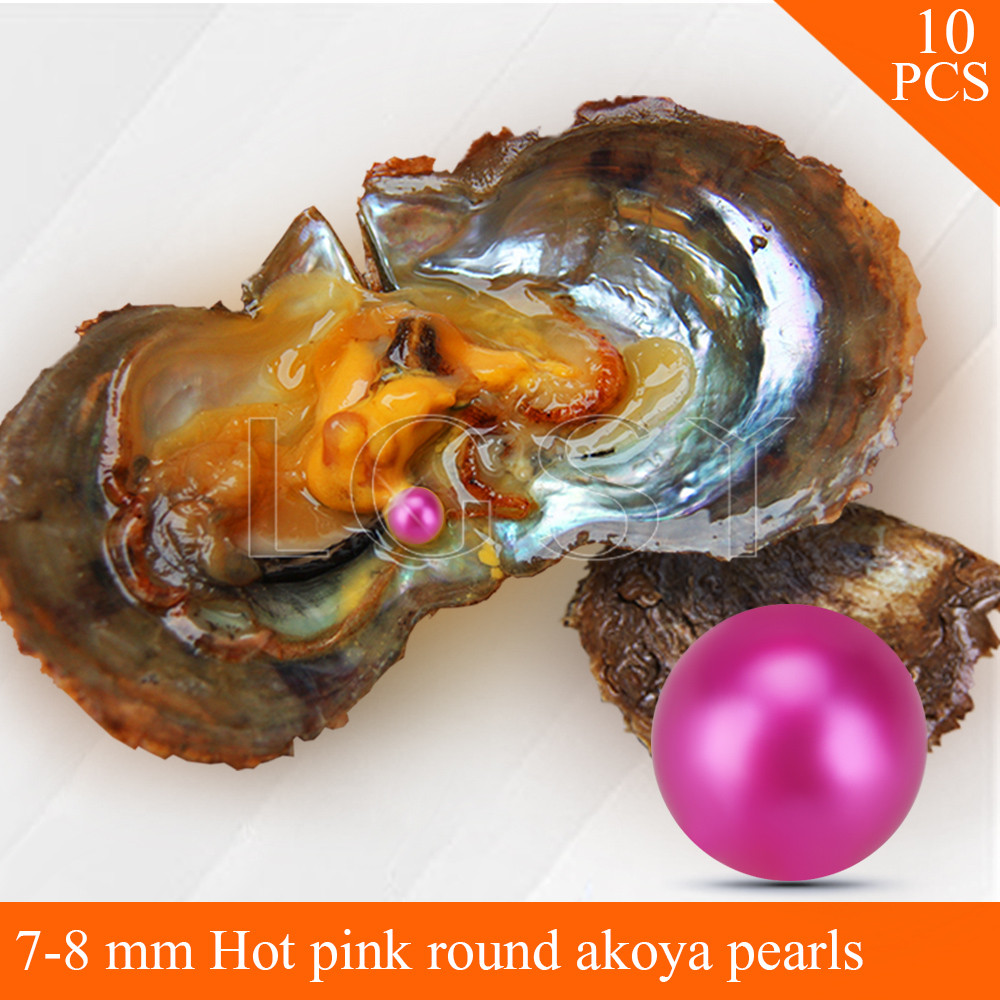 LGSY FREE SHIPPING Bead Hot pink 7-8mm round Akoya pearl in oysters with vacuum package for women jewelry making 10pcs free shipping 10pcs ssc9502 dip 15 lcd management chip in line package