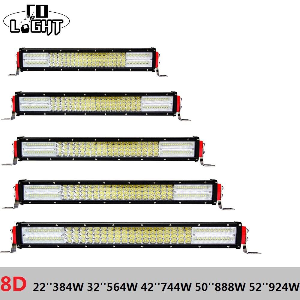 CO LUMIÈRE 4X4 Offroad Led Light Bar 22 32 42 50 52 pouces 8D Auto Lumière Droite pour Renault Lada Niva Jeep Wrangler Ford Chevrolet