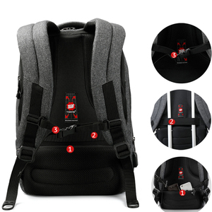 "Image 3 - Tigernu Brand Men Backpack Anti Theft USB Charge 17"" Laptop Backpack Male Women School Backpack School Bag High Quality Men Bag"