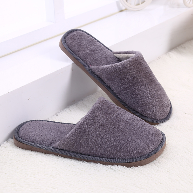 Indoor Winter Slippers Solid Short Plush Soft Bedroom Slippers ...