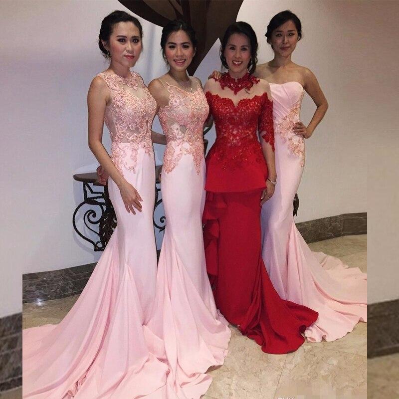 Color rosado de La Sirena Dama De Honor Con Encaje Apliques de ...