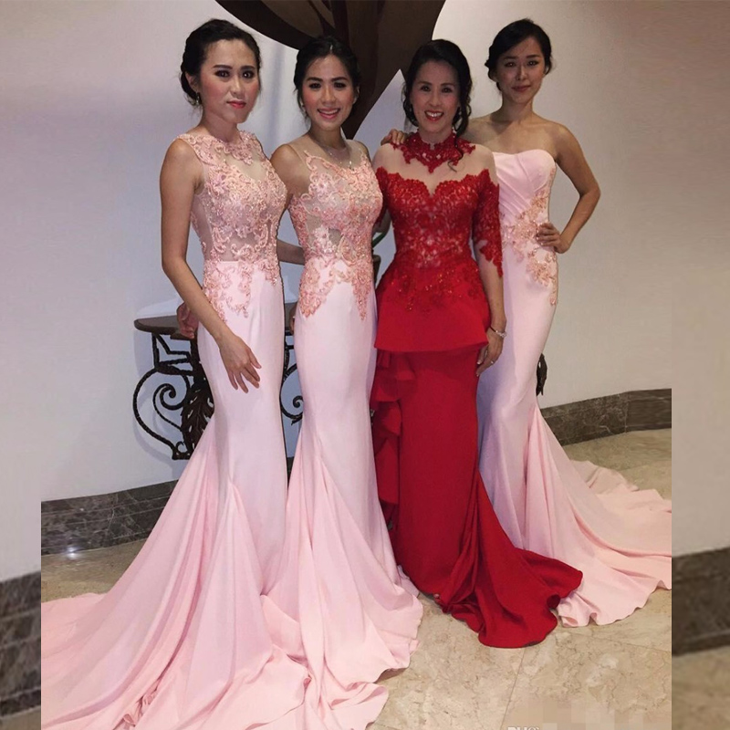 Pink Color Mermaid Bridesmaid Dresses With Lace Appliques Bead ...