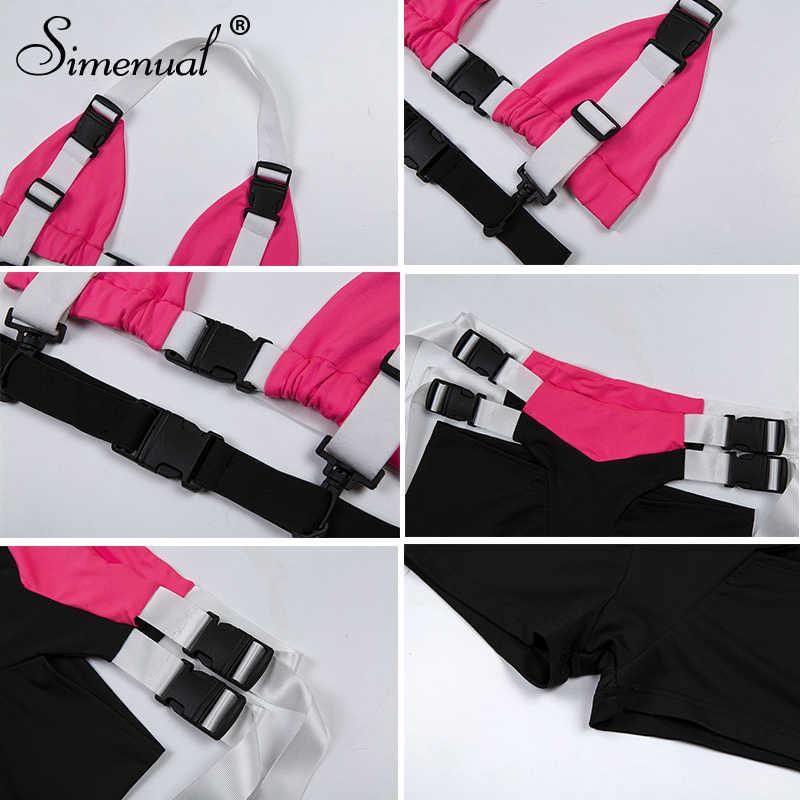 Simenual バックル祭ファッションマッチングセット女性のパッチワークセクシーなクロップトップとショーツツーピースセット夏 2019 服スリム
