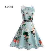 LUYINI Mujeres de la Impresión Floral Vestido de Verano Sin Mangas vestido de bola de Princesa Dress Vestidos Mujer Una línea de Vestido de Fiesta ropa de Mujer 2017