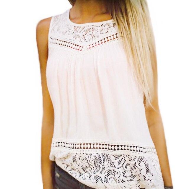 36a5744bee7 Кружева Для женщин шифоновая блузка без рукавов плюс Размеры рубашка Для женщин  топы Повседневное O шеи
